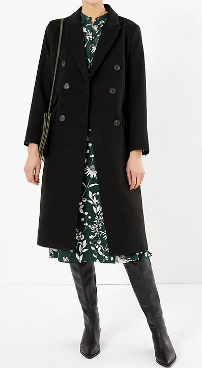 Petite Double Breasted Overcoat - Marks and Spencer Petite Coats