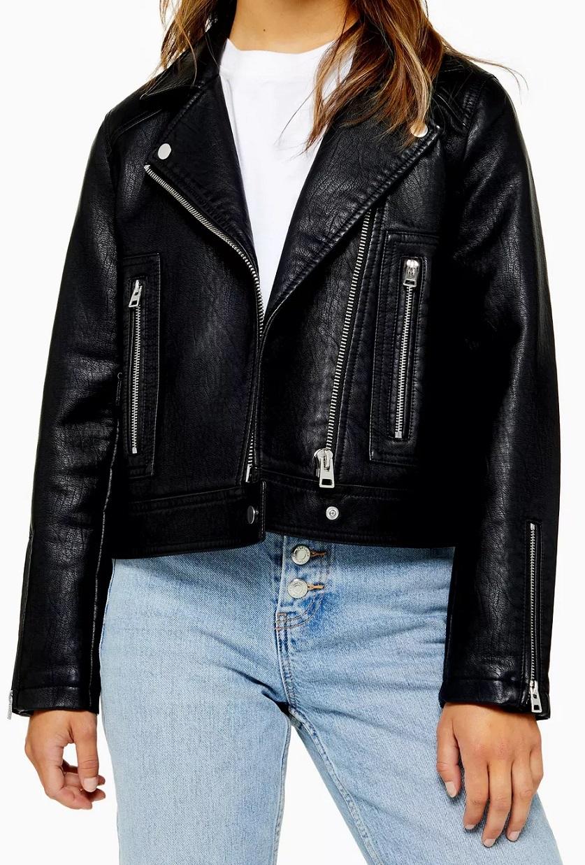 Petite Faux Leather Jacket - Top Shop