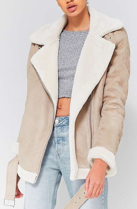 Faux Shearling Biker Jacket - UO