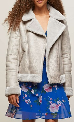 Petite Shearling Bikers Jacket - MissSelfridge
