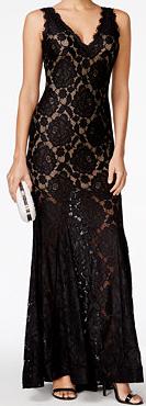 Petite Black Lace Gown