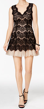 Petite Short Black Lace Dress