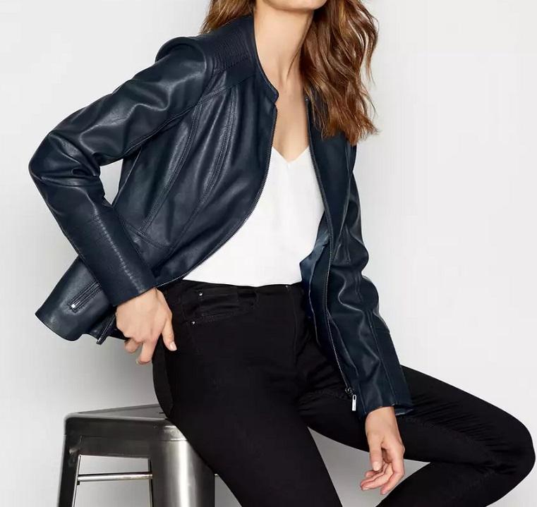 Petite Navy Faux Leather Jacket - Debenhams