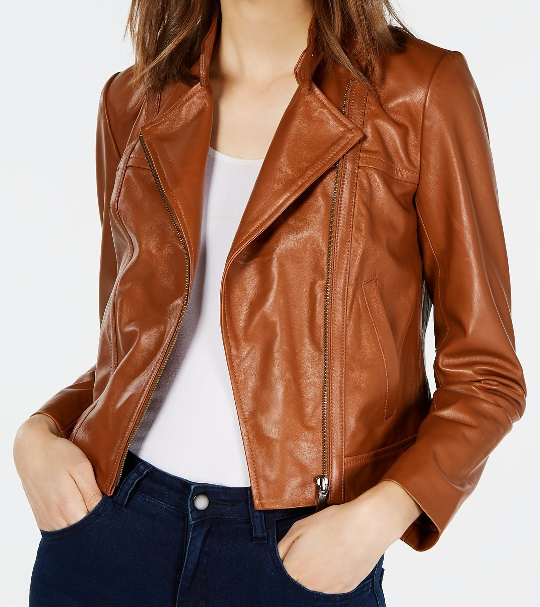 Petite Leather Moto Jacket - Macys