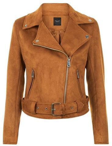 Petite Suedette Biker Jacket - New Look